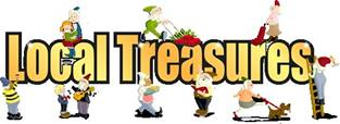 Local Treasures logo with images of people doing various household tasks likes washing windows