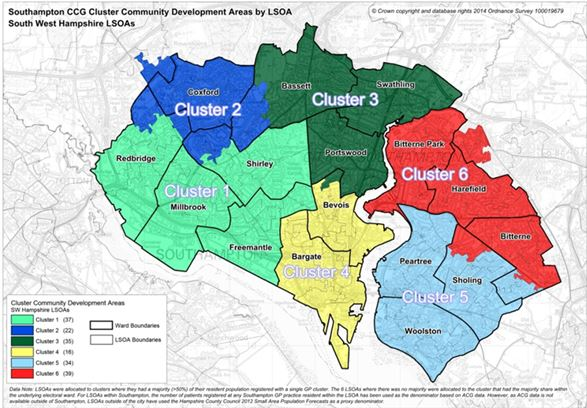 A cluster map showing the six wards in Southampton