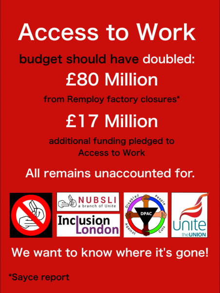 Access to Work campaign poster asking what has happened to the 80 million pounds saved from the Remploy factory closures