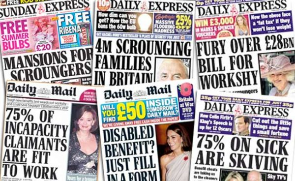 Picture of newspaper headlines about people on disability benefits being scroungers