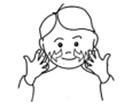 cartoon picture of a small boy making a makaton sign