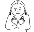 cartoon picture of a small girl making a makaton sign