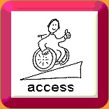 Cartoon image of a wheelchair user going up a ramp