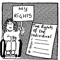 Picture of a Disabled Person with a list of rights