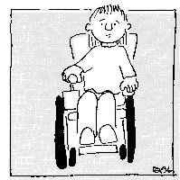 Cartoon image of a disabled boy sitting in a wheelchairld