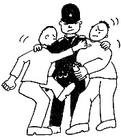 Cartoon image of a Policeman stopping two people from fighting