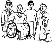 Cartoon image of a variety of Disabled People including a wheelchair user, a blind person and an assistance dog userDPO2