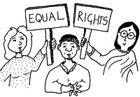 Cartoon image of three people holding placards saying Equal Rights