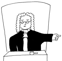 Cartoon image of a courtroom judge