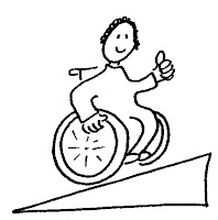 Cartoon picture of a wheelchair user going up a ramp