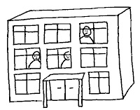 Cartoon image of a three storey school building