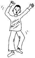 Cartoon picture of a man dancing a jig wearing a T shirt with the slogan Active