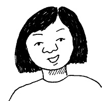 Cartoon image of a woman smiling