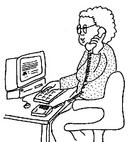 Cartoon image of a woman sitting at a desk using a computer and phone
