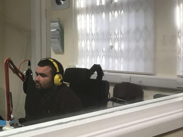 Sam Waddington being interviewed on Voice FM