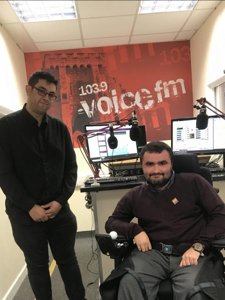 Sam Waddington at Voice FM studios
