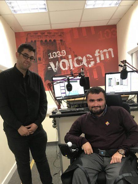 Sam Waddington at Voice FM studios