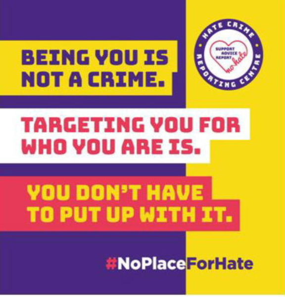 Purple, yellow and red poster saying Being You Is Not A Crime