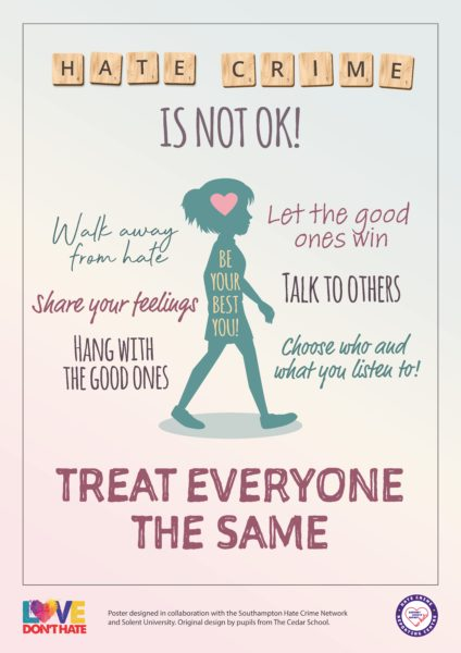 Poster of a child in silhouette saying Hate Crime is Not OK - Treat Everyone The Same