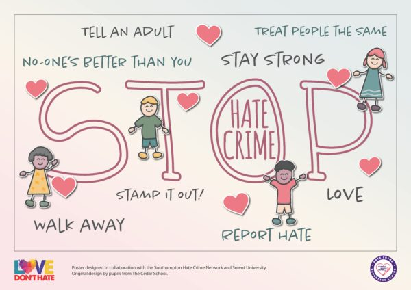 Poster of showing cartoon children saying STOP HATE CRIME