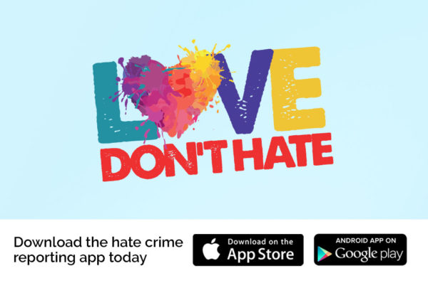 Graphic on blue background with text saying Love Don't Hate with icons for Apple and Google Play app stores