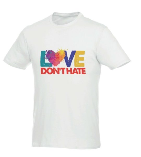 White t shirt with Love Don't Hate logo in blue, green, yellow and red